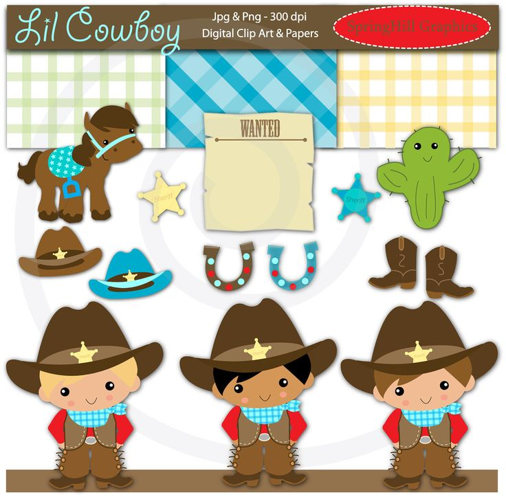 Western clipart little cowboy For and Western Card Cowgirl