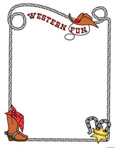 Cowgirl clipart border Western for  documents frame