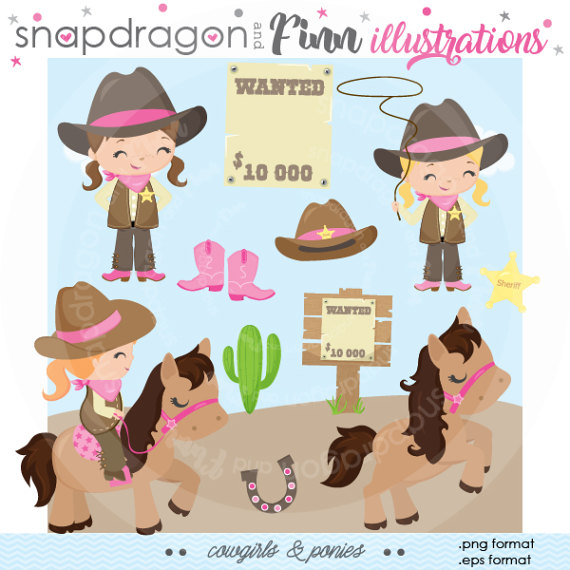 Western clipart pink Etsy on papers Girl Girl