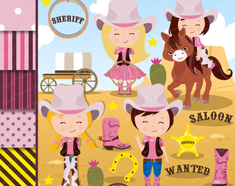 Western clipart pink Cowgirl Graphics Cowgirl Clipart Wild
