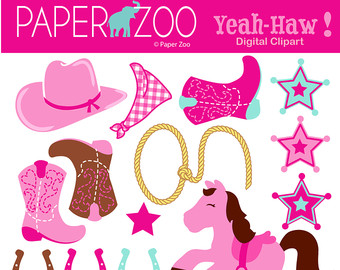 Western clipart pink Etsy Zoo ART Cowgirl Paper