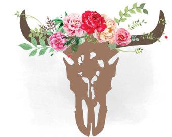 Western clipart rose Texas Etsy skull bull cowgirl