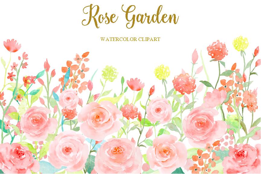 Western clipart rose Garden Watercolor TheHungryJPEG Clipart Cornercroft