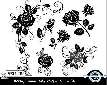 Western clipart rose Rose Clipart black Black rose