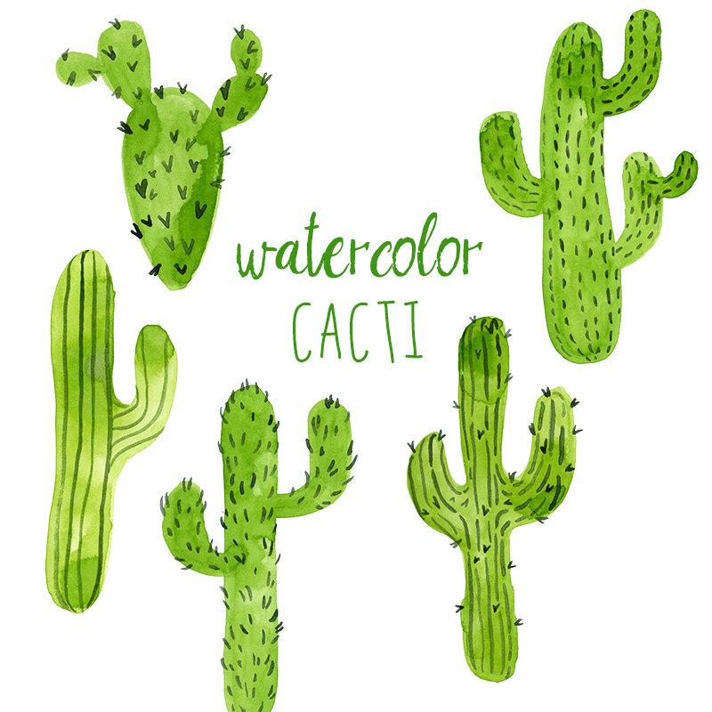 Wild West clipart cactus Art Trend Watercolor clipart Green