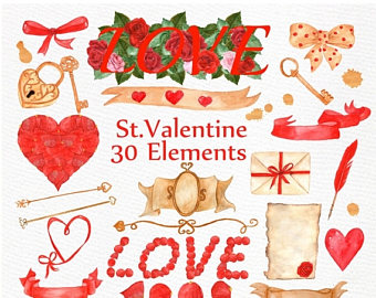 Western clipart valentine Watercolor Watercolor Clipart: ON SALE