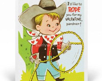 Western clipart valentine Cowboy valentine Valentine 1950s Valentine's