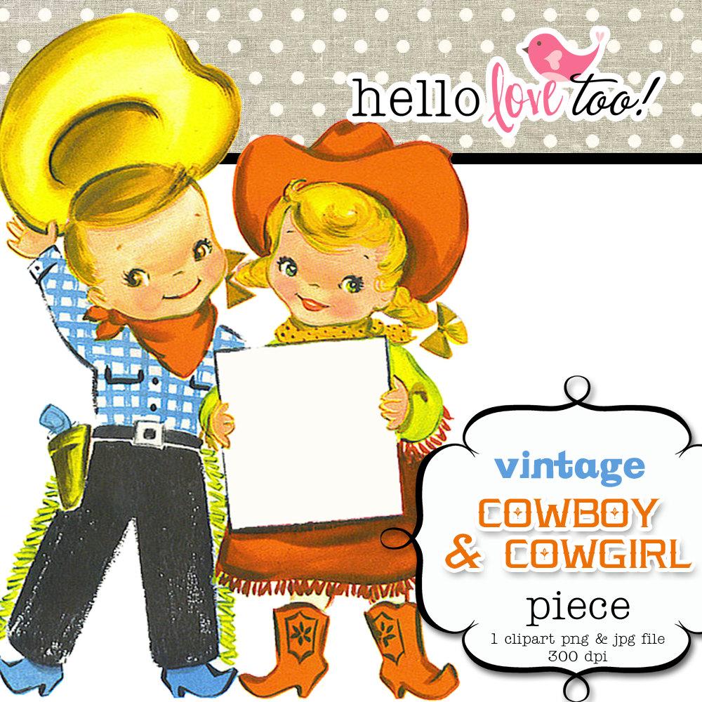 Cowboy clipart vintage cowboy Design & scrapbooking cowboy vintage