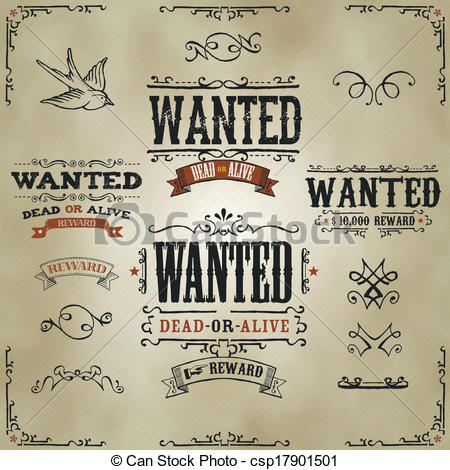 Western clipart wanted Of Western Vector Wanted of