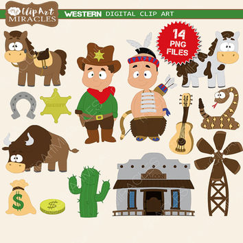 Wild West clipart cute cowboy Western art clipart Western kit