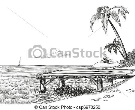 Wharf clipart Wooden sea Illustration Pelican Beach