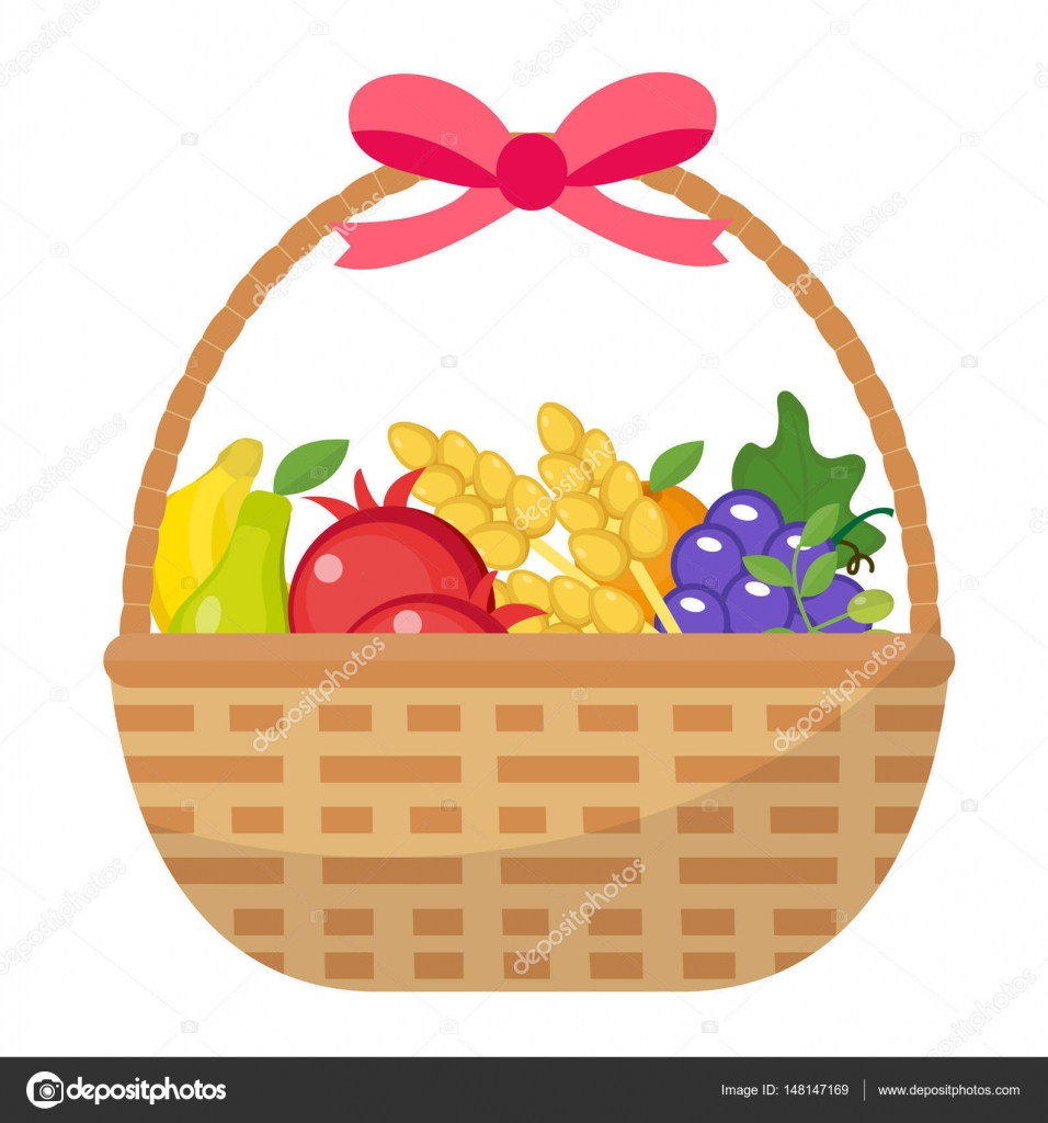 Basket clipart wheat Grapes illustration Vector — cartoon