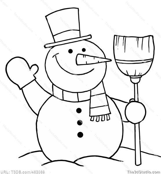 Black & White clipart snowman Mouth black Smowman and clipart