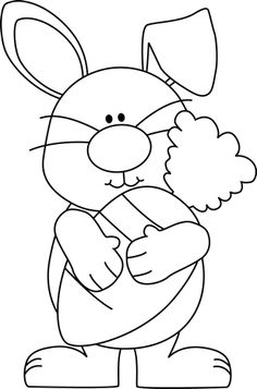 White clipart easter bunny Cartoon easter Bunny and Basket