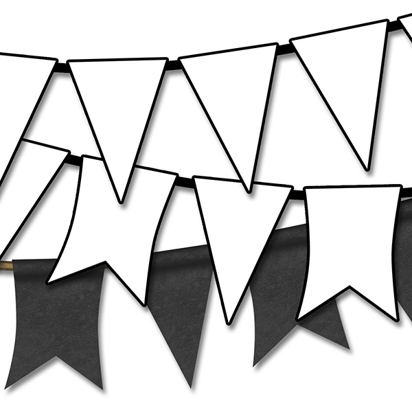 White clipart pennant banner  Free Pennant Art Flag