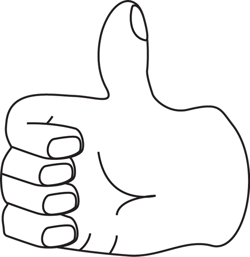 White clipart thumbs up White and and Black Black
