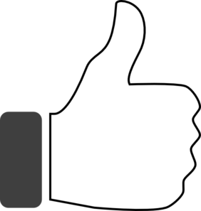 White clipart thumbs up Vector Art com Clip Up