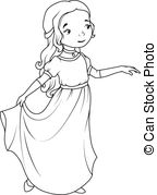 White Dress clipart cartoon Dress Clipart  long girl