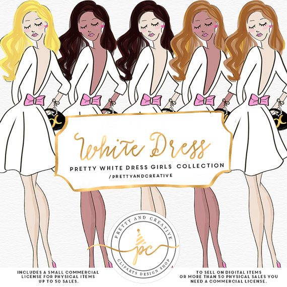 White Dress clipart printable #14