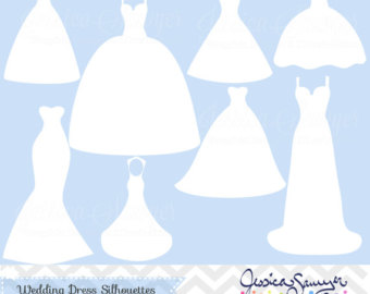 White Dress clipart silhouette Clipart silhouette announcements wedding for