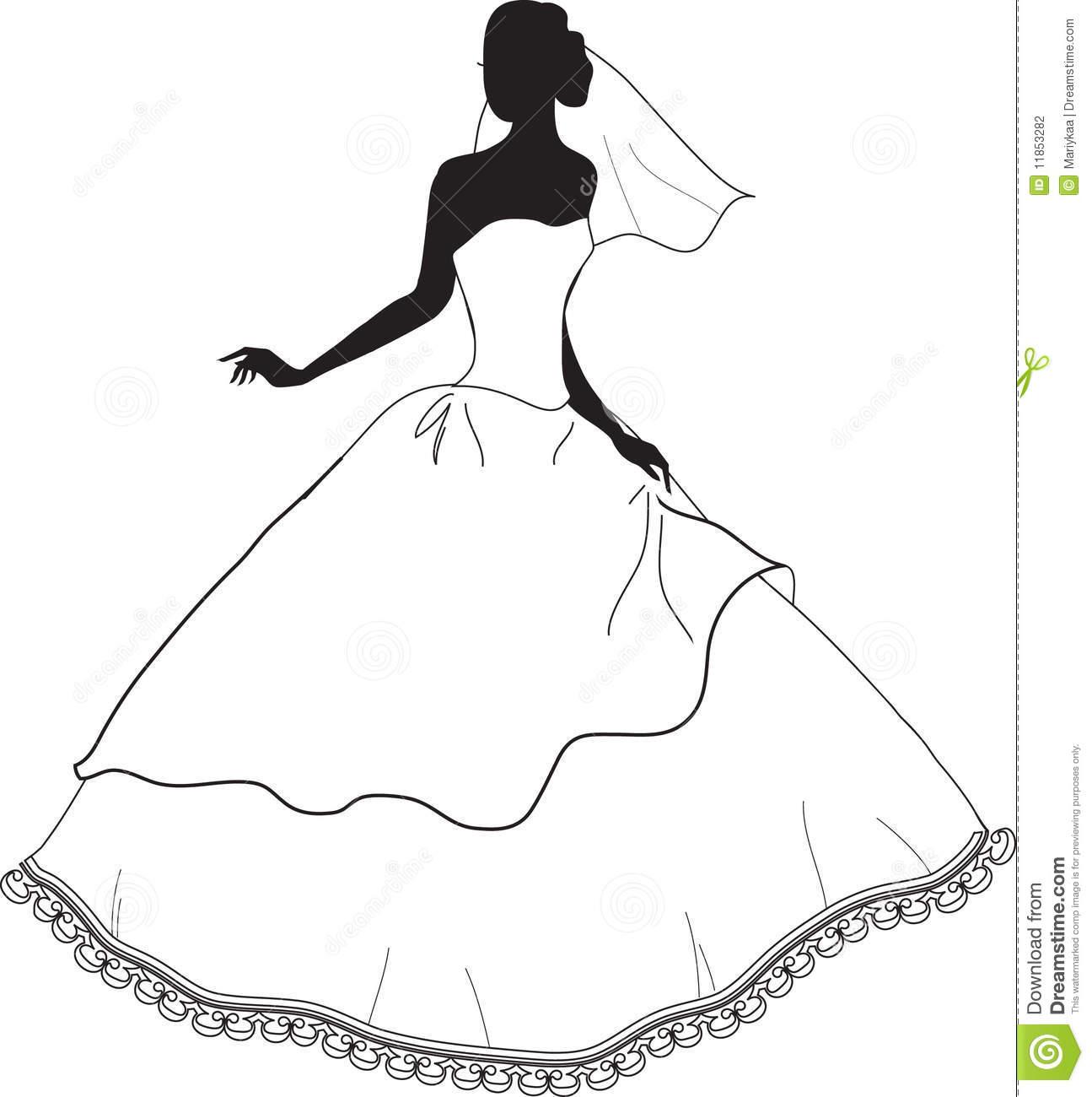 Bride clipart black and white Clip Search clip SilhouetteDress bridal