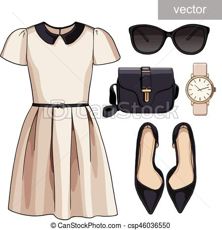 White Dress clipart spring clothes Spring of trendy season Clipart