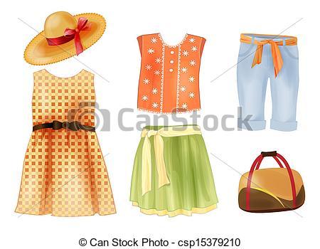 Yellow Dress clipart summer dress Vector of girls Clip clothes