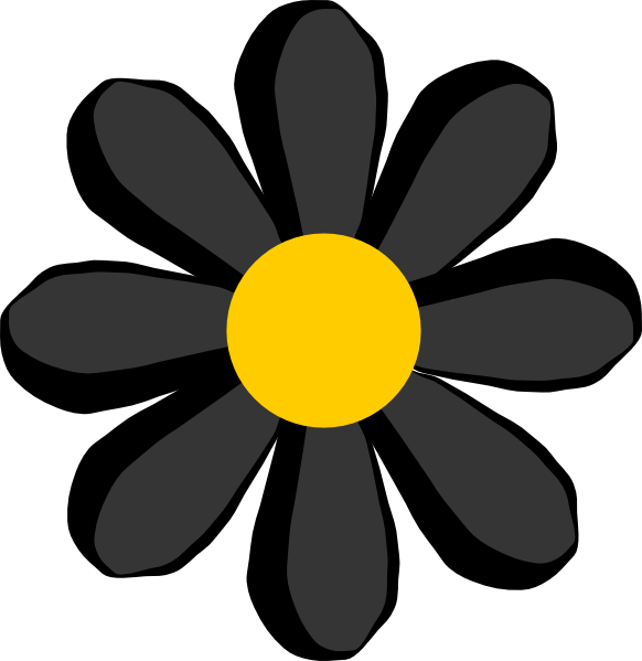 Yellow Flower clipart black and white Free Clip Art  at