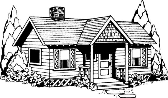 Villa clipart black and white Farm of House art Clip