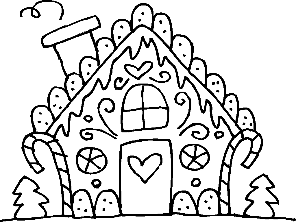 Black & White clipart gingerbread Collection house printable house gingerbread