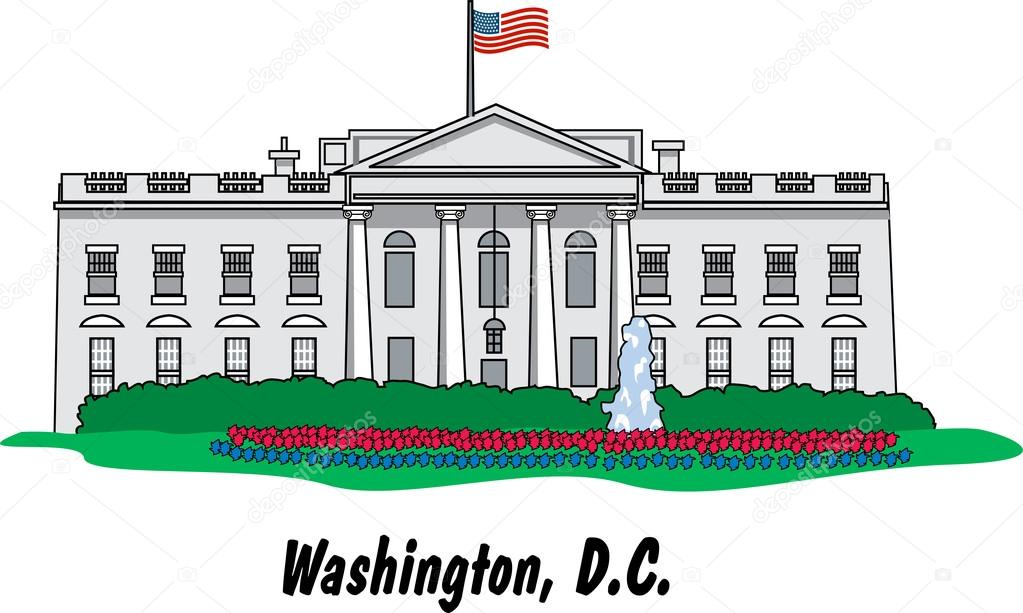 Building clipart white house House Vector — DC The