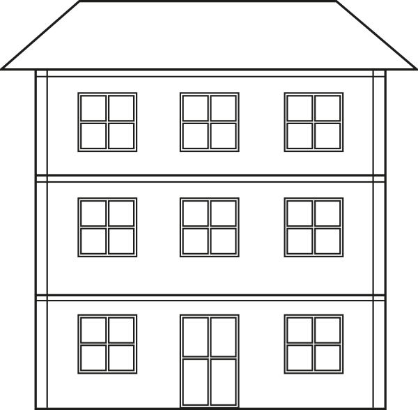 Hosue clipart three story Outline Story Three Clipart houses