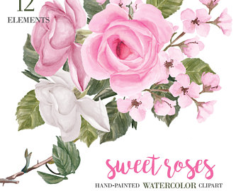 Pink Rose clipart painted PNG Files ROSES Watercolor Art