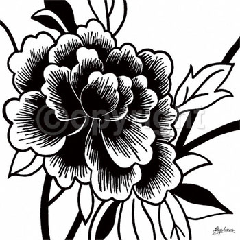 White Rose clipart pen and ink #15