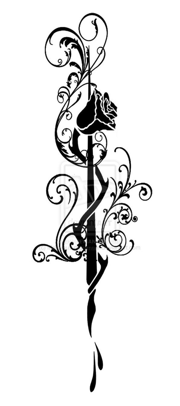 White Rose clipart pen and ink #8