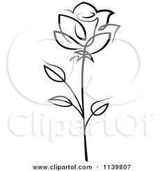 White Rose clipart pen and ink #9
