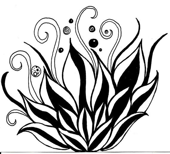 White Rose clipart pen and ink #7