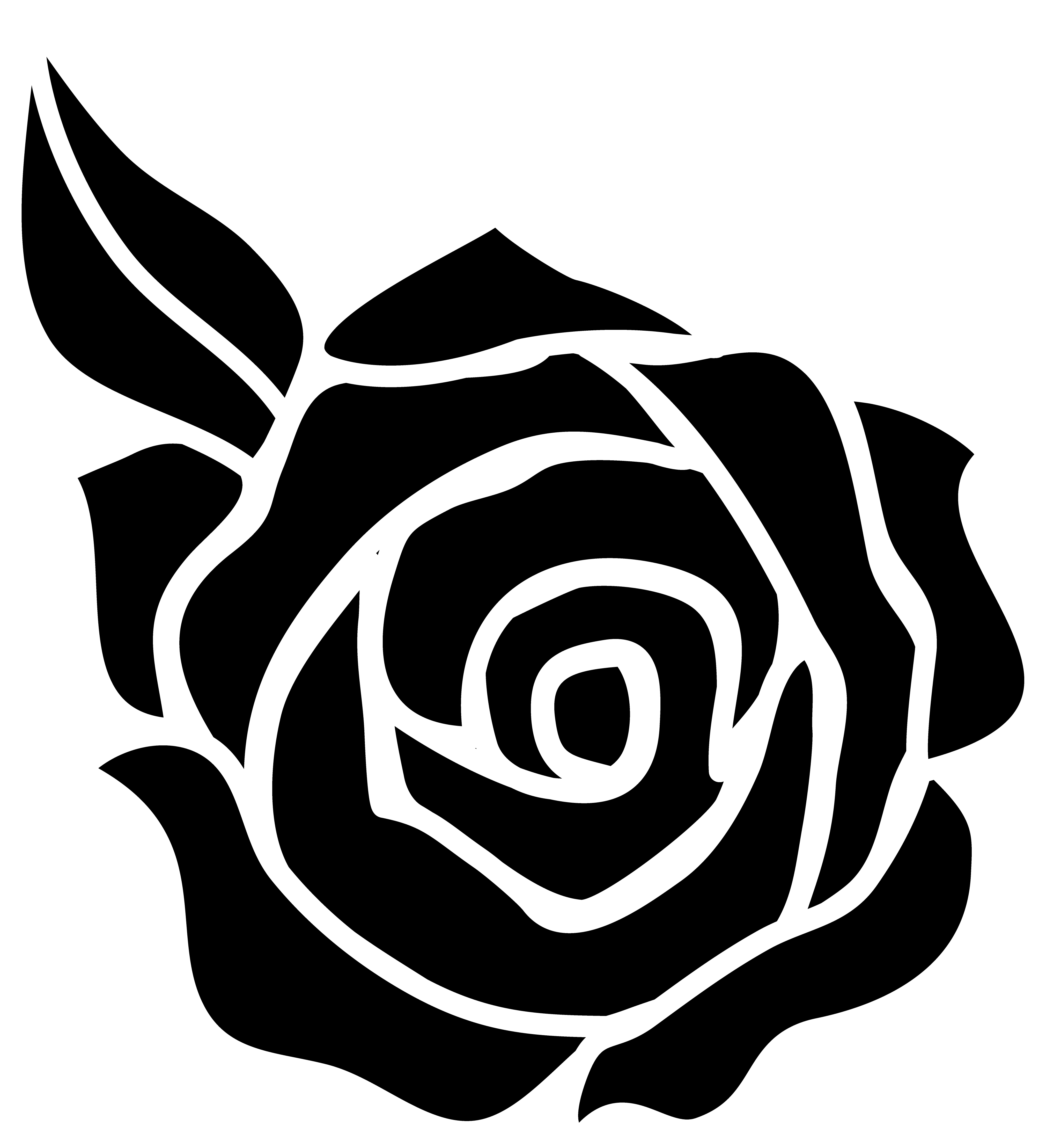 White Rose clipart silhouette Sticker Google leaf) Image Rose