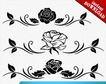 White Rose clipart svg Silhouette vector Rose Etsy Rose