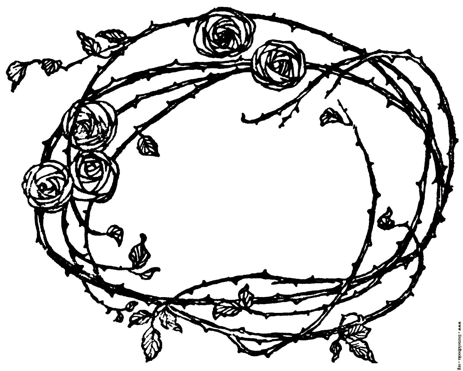 Drawn rose bush border Of Roses and Tatting Border