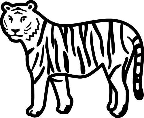 Tiiger clipart black and white #3