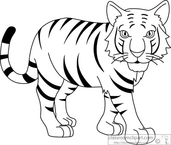 Tiiger clipart black and white #6
