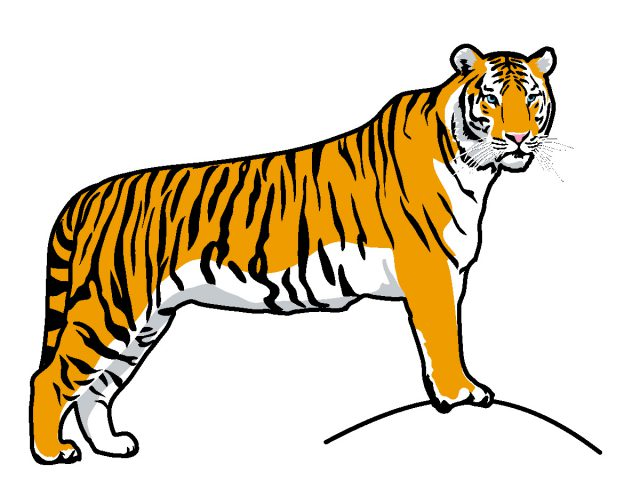 White Tiger clipart bengal tiger Running black clip tiger running
