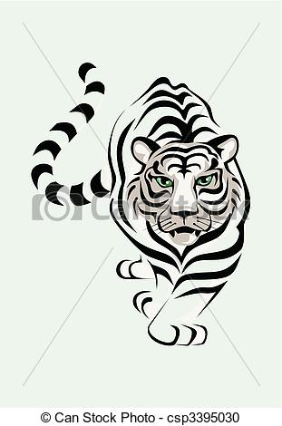 White Tiger clipart b&w Vector  The A is
