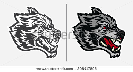 White Wolf clipart angry Wolf face Mascot Angry wolf
