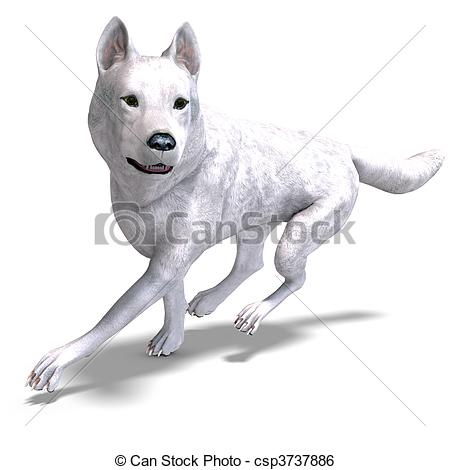 White Wolf clipart carnivore  shadow 3D over Wolf