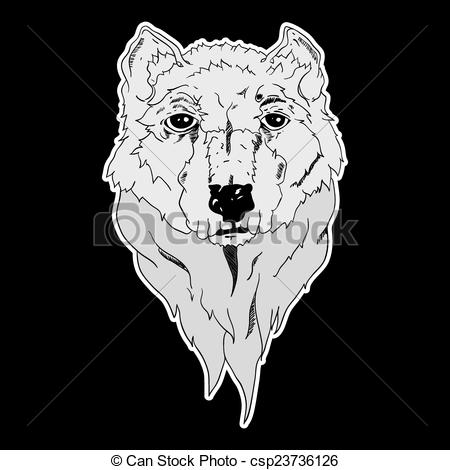 White Wolf clipart icon Of Vector on White Vector