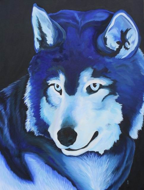 White Wolf clipart monochromatic Paintings animal Monochromatic The on