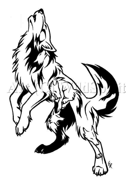 Drawn howling wolf tatoo Free image Wolf Tattoo