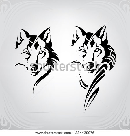 White Wolf clipart stencil art & Vectors Stock Vector Art